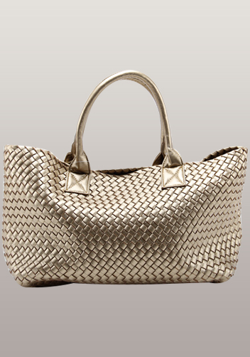 Grand Boulevard Woven Large Tote Gold