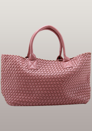 Grand Boulevard Woven Large Tote Pink