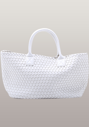 Grand Boulevard Woven Large Tote White