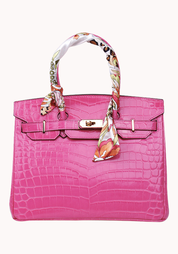 The Essential Jane Bag With Scarf Croc Leather Hot Pink