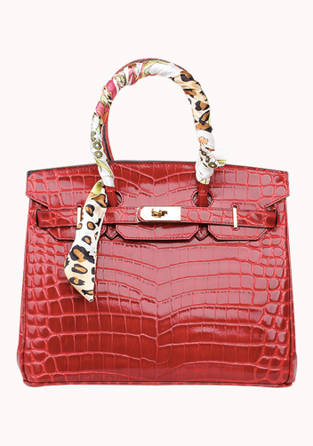 The Essential Jane Bag With Scarf Croc Leather Red