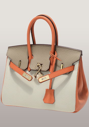 The Essential Jane Small Patchwork Leather Bag Grey Orange