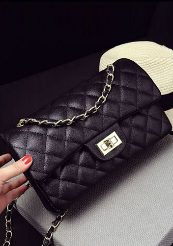 CHANEL DUPE: BLACK QUILTED ADELE FLAP MEDIUM FAUX LEATHER BAG