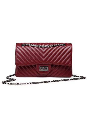 CHANEL DUPE: RED V ADELE FLAP MEDIUM FAUX LEATHER BAG