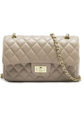 CHANEL DUPE: BEIGE ADELE FLAP MEDIUM FAUX LEATHER BAG
