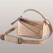 Adrienne Geometry Leather Shoulder Bag Beige