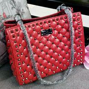 Beanie Studded Leather Shoulder Bag Red