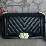 Ingrid V Shape Caviar Leather Flap Black