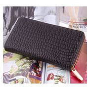 DAKOTA PURSE WALLET CROC EFFECT LEATHER CHOCO