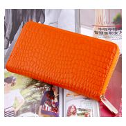 DAKOTA PURSE WALLET CROC EFFECT LEATHER ORANGE
