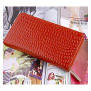 DAKOTA PURSE WALLET CROC EFFECT LEATHER BROWN
