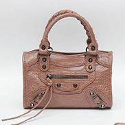 "The Route 66 Faux Croc Leather Tote 9"" Brown"