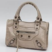 "The Route 66 Faux Croc Leather Tote 9"" Light Grey"