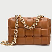 Mia Vegan Leather Chain Shoulder Bag Camel