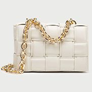 Mia Vegan Leather Chain Shoulder Bag Cream