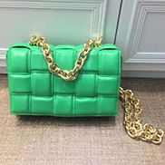 Mia Leather Chain Medium Shoulder Bag Green