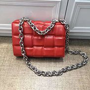 Mia Leather Chain Medium Shoulder Bag Red
