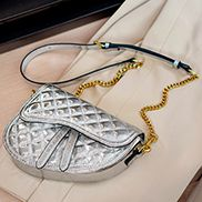Aurora Shining Leather Saddle Bag Silver