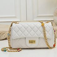 Adele Flap Small Bag Gemstone Chain White