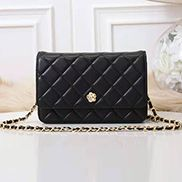 Adeline Lambskin Leather Diamond Shape Shoulder Bag Black