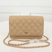 Adeline Caviar Leather Diamond Shape Shoulder Bag Beige