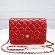 Adeline Lambskin Leather Diamond Shape Shoulder Bag Red