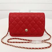 Adeline Caviar Leather Diamond Shape Shoulder Bag Red