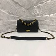Adele Chain Leather Shoulder Bag Black
