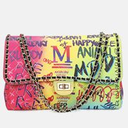 Adele Flap Large Bag Vegan Chain Trim Graffiti Multicolour