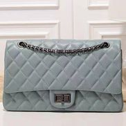 Adele Flap Bag Grain Leather Blue