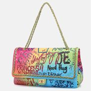 Adele Flap Large Bag Vegan Chain Trim Graffiti