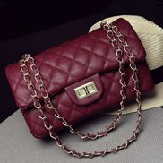 Adele Flap Medium Bag Faux Grain Leather Burgundy