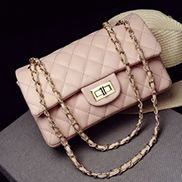 Adele Flap Medium Bag Faux Grain Leather Pink