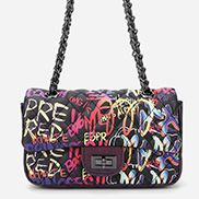 Adele Flap Small Bag Vegan Graffiti Black