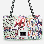 Adele Flap Small Bag Vegan Graffiti White