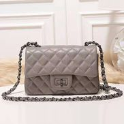 Adele Flap Small Grain Leather Grey