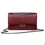 Adele Flap V Shape Quilted Medium Bag Faux Burgundy