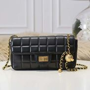 Adele Ice Cubes Leather Shoulder Bag Black