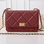Adeline Lamb Skin Leather Shoulder Bag Burgundy