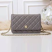 Adeline Lambskin Leather Diamond Shape Shoulder Bag Grey