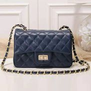 Adele Quilted Leather Flap Mini Bag Blue Gold Hardware