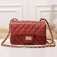 Adele Quilted Leather Flap Mini Bag Red Gold Hardware