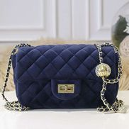 Adele Velvet Shoulder Bag Blue