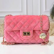 Adele Velvet Shoulder Bag Pink