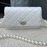 Adeline Leather Shoulder Bag Pearls Chain White