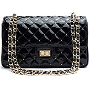 Adele Patent Studs Leather Flap Bag Black