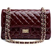 Adele Patent Studs Leather Flap Bag Burgundy