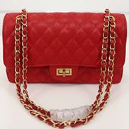 Adele Flap Medium Grain Leather Gold Hardware Red