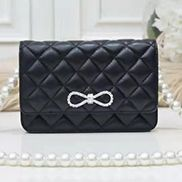 Adeline Leather Shoulder Bag Pearls Chain Bow Black