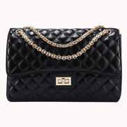 Adele Flap Bag Faux Leather Black Gold Hardware